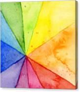 Watercolor Rainbow Beachball Pattern Canvas Print
