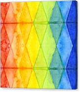 Watercolor Rainbow Pattern Geometric Shapes Triangles Canvas Print