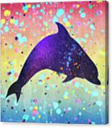 Watercolor Silhouette - Dolphin  Porpoise Canvas Print