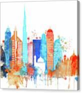 Watercolor Skyline Of Dubai Canvas Print