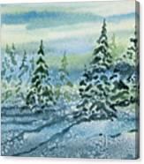 Watercolor - Snowy Winter Evening Canvas Print