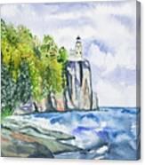 Watercolor - Split Rock Lighthouse Canvas Print