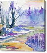 Watercolor - Stream And Forest Canvas Print