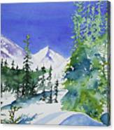 Watercolor - Sunny Winter Day In The Mountains Canvas Print