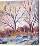 Watercolor - Trees And Woodland Meadow Canvas Print