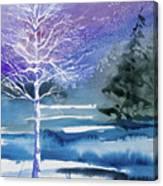 Watercolor - Winter Aspen Canvas Print
