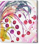 Watercolor - Winter Berry Abstract Canvas Print