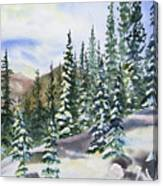 Watercolor - Winter Snow-covered Landscape Canvas Print