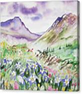 Watercolor - Yankee Boy Basin Landscape Canvas Print