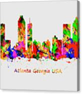 Watercolour Art Print Of The Skyline Of Atlanta Georgia Usa Canvas Print