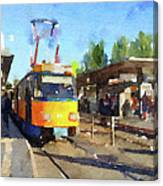Watercolour Painting Of A Tram In Germany Canvas Print