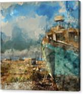 Watercolour Painting Of Abandoned Fishing Boat On Beach Landscap Canvas Print