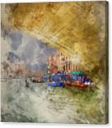 Watercolour Painting Of Low View Through Rialto Bridge Along Gra Canvas Print