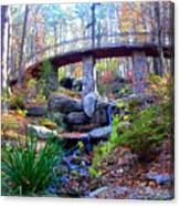 Waterfall And A Bridge In The Fall Canvas Print