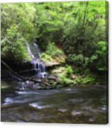 Waterfall And Mountain Creek Canvas Print
