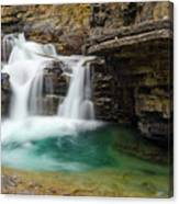 Waterfall At Johnston Canyon Canvas Print
