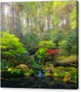 Waterfall At Lower Pond In Japanese Garden Canvas Print