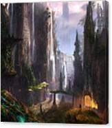 Waterfall Celtic Ruins Canvas Print