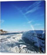 Waterfall Gullfoss In Winter Iceland Europe Canvas Print