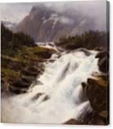 Waterfall In Norweigian Mountain Landscape Canvas Print