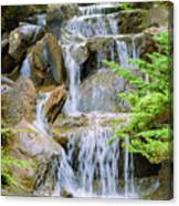 Waterfall In The Vandusen Botanical Garden 1 Canvas Print