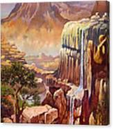 Waterfall Rocks And Sun Canvas Print