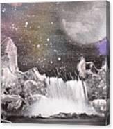 Waterfalls At Night Canvas Print