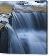 Waterfalls In Blue And Gold Canvas Print