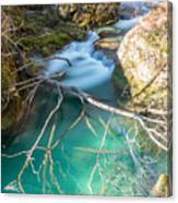 Waterfalls In The Nature Reserve Urederra Canvas Print