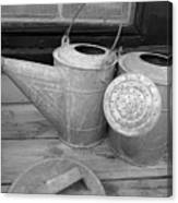 Watering Cans And Tubs B  W Canvas Print
