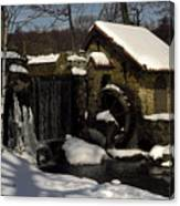 Waterwheel With Snow Canvas Print
