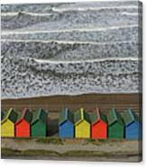 Waves And Beach Huts - Whitby Canvas Print