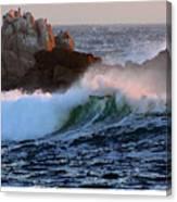 Waves Crash Against The Rocks Canvas Print
