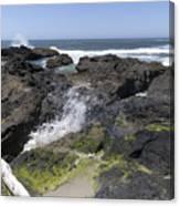 Waves Crash Ashore On A Lava Bed Canvas Print