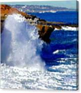 Waves Crashing On The Rocks Canvas Print