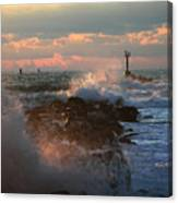 Waves Crashing Over The Jetty Canvas Print