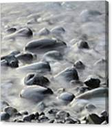 Waves On Cobble-panoramic Canvas Print