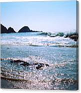 Waves On The Mid Beach Rocks At Zipolite  Canvas Print