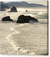 Waves Roll Ashore On The Oregon Coast Canvas Print