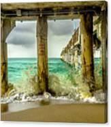 Waves Smash Into The Pier Canvas Print