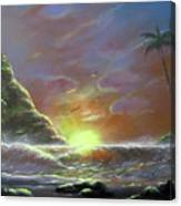 Waves Through The Sunset Canvas Print