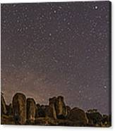 Waxing Moon Above The City Of Rocks Canvas Print