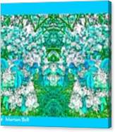 Waxleaf Privet Blooms In Aqua Hue Abstract With Aqua Frame Canvas Print
