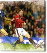 Wayne Rooney Of Manchester United Scores Canvas Print
