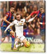 Wayne Rooney Shoots At Goal Canvas Print
