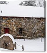 Wayside Inn Grist Mill Covered In Snow Millstone Canvas Print