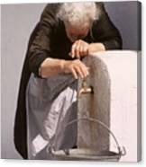 Weary Elderly Woman In Greece Canvas Print
