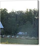 Weathered Barn And Hay Bales  Canvas Print