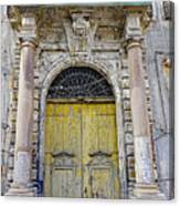 Weathered Old Artistic Door On A Building In Palermo Sicily Canvas Print