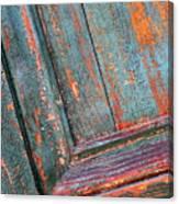 Weathered Orange And Turquoise Door Canvas Print